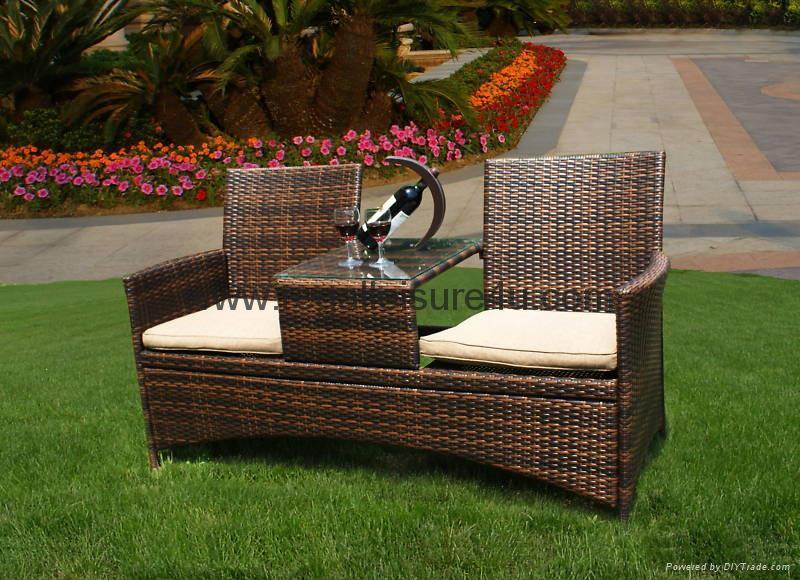 rattan garden bench 2