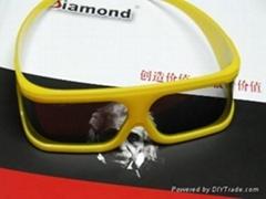 黃色邊框立體眼鏡120°