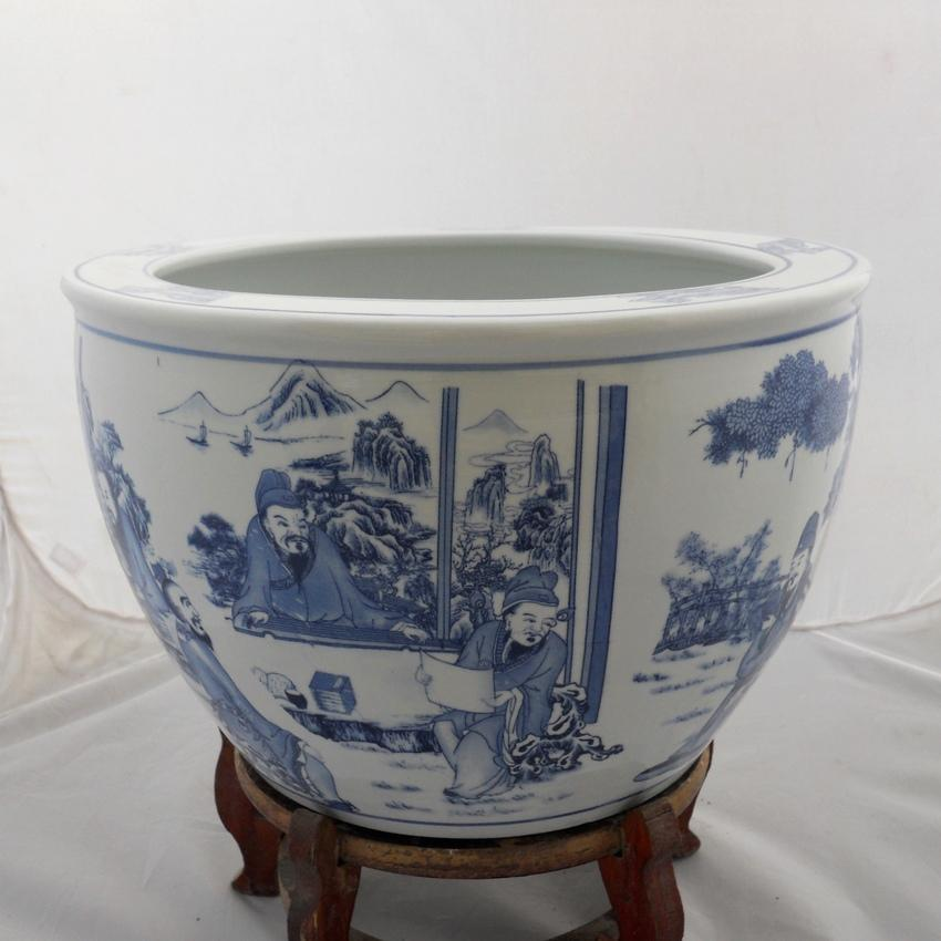 Chinese blue and white porcelain fish bowl flower pot for Chinese fish bowl