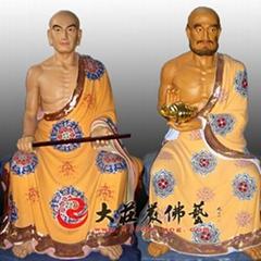 銅雕十八羅漢佛像彩繪