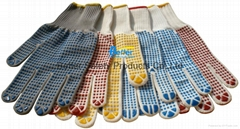 High Quality Nylon Or T/C Yarn Knitted Shell With PVC One-side Dotted Work Glove