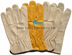High Quality Cow Grain Leather Excellent Comflex Driver Style Work Gloves