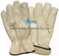 High Quality Cow Grain Leather Excellent Comflex Driver Style Work Gloves 2