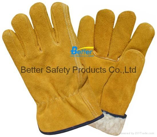 Cow Split Leather Driver Stryle Excellent Comflex Winter/Warmer Work Gloves 1