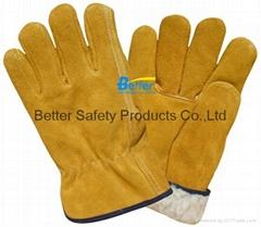 Cow Split Leather Driver Stryle Excellent Comflex Winter/Warmer Work Gloves