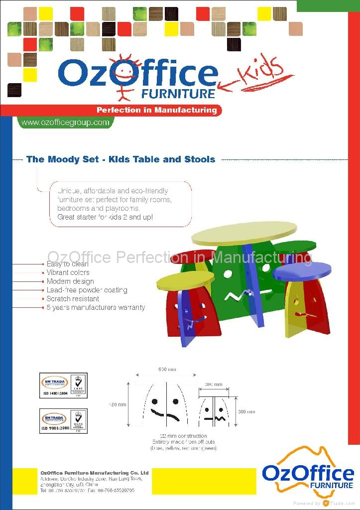 Oz Kids The Moody Set - Kids Table and Stools 1