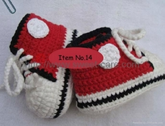 Handmade Crochet Baby Shoes Flower footwear 100% cotton(Item No.14)
