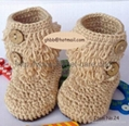100% Hand made Knit Crochet Flower Baby Shoes(Item No.24)