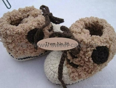 100% Hand made Knit Crochet Flower Baby Shoes(Item No.36)