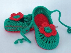 100% Hand made Hand Knit Crochet Flower Baby Shoes(Item No.42)