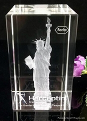 3D Laser Crystal Statue of liberty