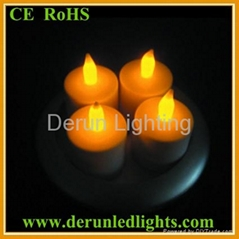 4pcs/set round base Rechargeable LED Tealight