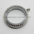 Wholesale 316L Stainless Steel Locket Charms Silver Pendant with CZ Stone