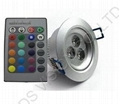 3W High power led RGB ceiling light downlights with remote controller 1