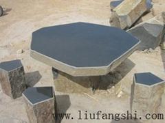 玄武岩basalt六方石桌石椅