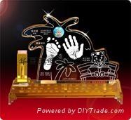供應水晶手腳印嬰儿手足印水晶內雕章水晶紀念品 3