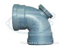 PP靜音排水管(雙擴口90度側面帶口彎頭)