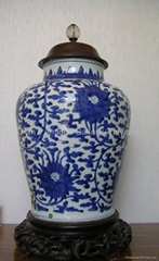 Chinese Blue and White Lotus Pattern Jar (18th C.)