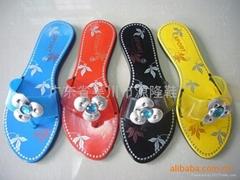 外贸黑底塑料拖鞋1028+1-F