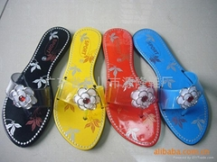 外贸黑底塑料拖鞋1028+1-D