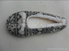 出口欧美国家蝴蝶结毛线绒跳舞鞋