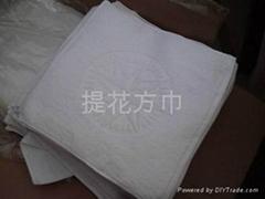 白色提花方巾