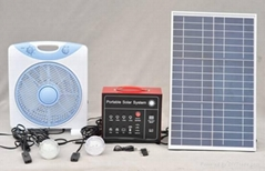 Portable Solar System 20Wwith 2 LED lamps,12VDC fan