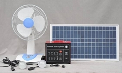 Portable Solar System 30W(with 2 LED lamps,12VDC fan)