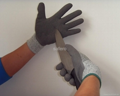Grey latex coating cut resistant glove