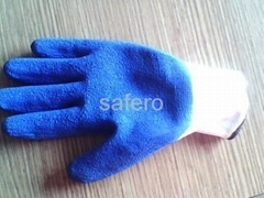 Blue latex coating cut resistant glove