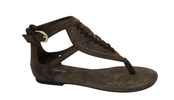 Women s Black Brushed Fabric Flat Sandals 1