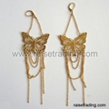 fashion metal earring with butterfly design and crystal implanted