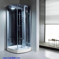 big opened shower stall in corner