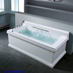 rectangular whirlpool bathtub with big water fall
