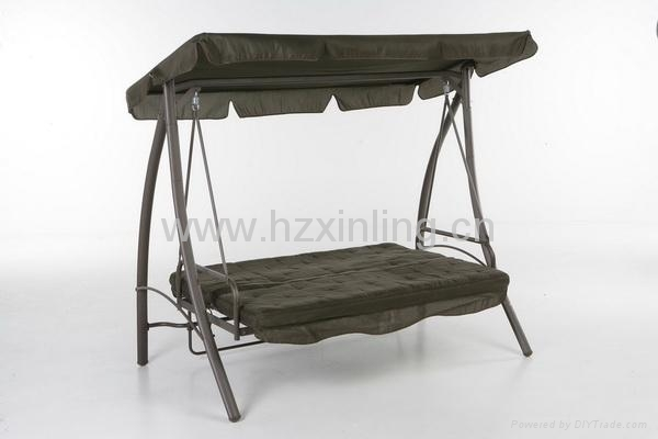 Double service garden patio swing chair bed gs b0366 for Swinging bed frame