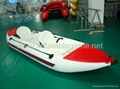 Red and white Inflatable boat