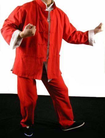 Red Cotton Kung Fu Martial Arts Tai Chi Uniform Suit - YNHAGFTZ125