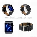 Fan Watch Dial PU Leather Band Blue LED Watch