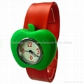 Silicone Slap Quartz Watch Apple Shape