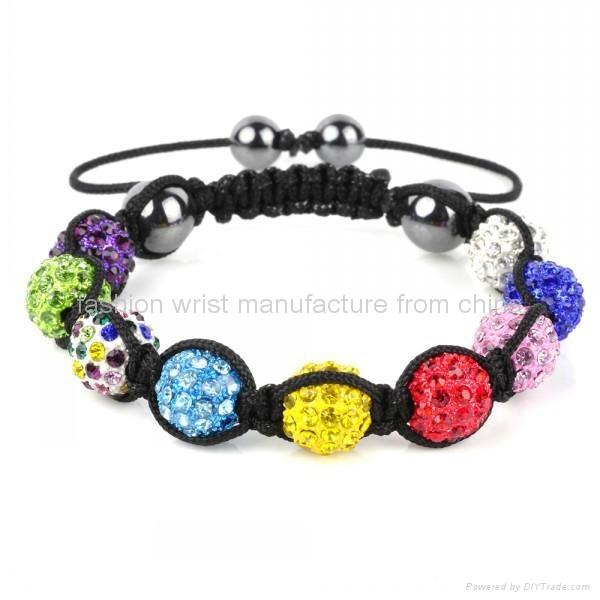 Shamballa Bracelet Multi Coloured Crystal Disco Ball  1