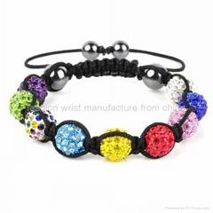Shamballa Bracelet Multi Coloured Crystal Disco Ball