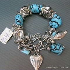Handmade Natural Turquoise Bracelets Silver Tone Charm Pendent Lampwork Glass US