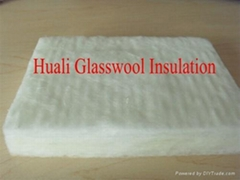 White formaldehyde free glass wool board for wall and roof insualtion