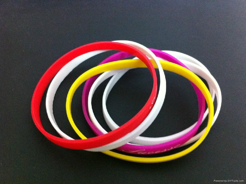 Whole 5mm Wide Thin Silicone Fashion Wristbands Rubber Bracelets For S