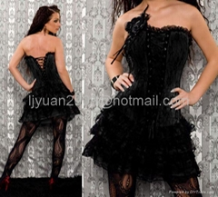 Sexy Floral Corset Lace Up Back Bustier Dress Tong 2059