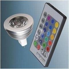 熱銷LED七彩遙控RGB燈杯/可無級調光調色 3W