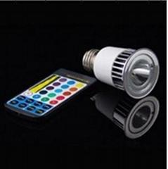 热卖LED七彩遥控灯杯 5W