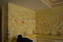 丝绸手绘墙纸