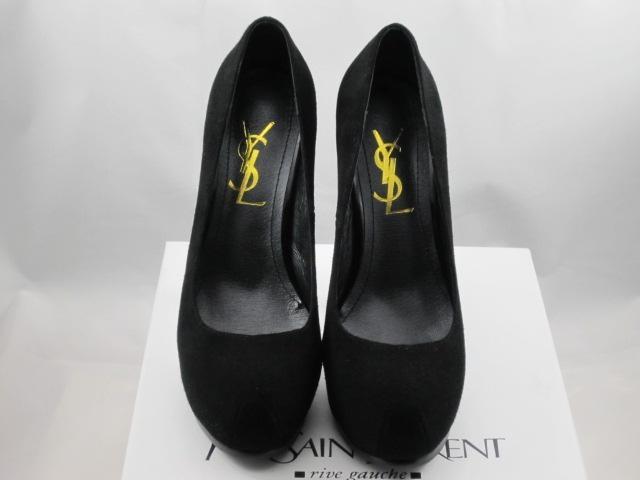 Yves saint laurent suede black pump women shoes 1