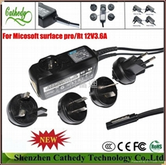 power adapter for Microsoft Surface Windows 8 Pro surface st tablet pc 12v 3.6a